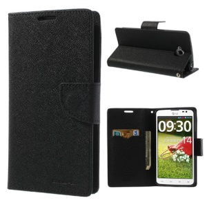 Mercury Fancy Diary Leather Cover Stand  for LG G Pro Lite D684 Dual D686 - Black