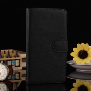 Black Leather Magnetic Case w/ Card Slots for LG G Pro Lite D684 Dual D686