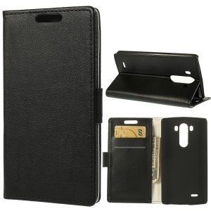 Black for LG G3 D850 LS990 Magnetic Litchi Leather Wallet Stand Case