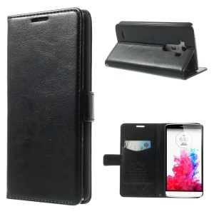 Black Crazy Horse Leather Stand Case w/ Card Slots for LG G3 D850 D855 LS990