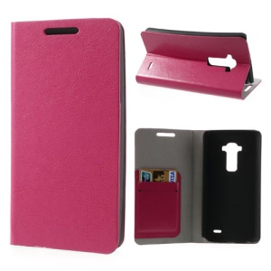 Crazy Horse Leather Case for LG G Flex D950 D955 D959 w/ 2 Card Slot - Rose