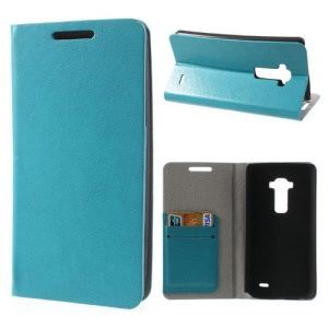 Crazy Horse Leather Cover for LG G Flex D950 D955 D959 w/ 2 Card Slot - Blue
