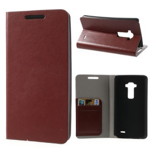 Crazy Horse Leather Case Shell for LG G Flex D950 w/ 2 Card Slot - Brown
