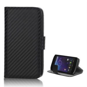 Carbon Fiber Card Holder Wallet Leather Case Stand for LG E960 Mako Google Nexus 4 - Black