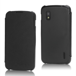 Business Style Slim Leather Flip Cover Case for LG E960 Mako Google Nexus 4 - Black