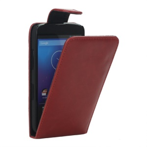 Glossy Leather Vertical Flip Case Cover for LG E960 Mako Google Nexus 4 - Red
