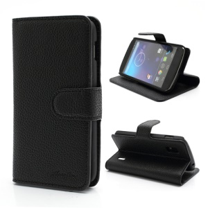 Litchi Grain Folio Leather Stand Case with Card Slots for LG E960 Mako Google Nexus 4 - Black