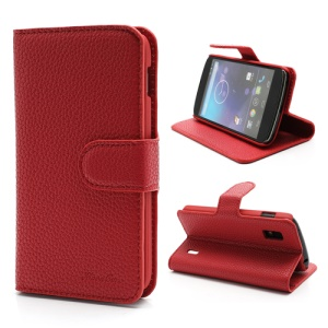 Litchi Grain Folio Leather Stand Case with Card Slots for LG E960 Mako Google Nexus 4 - Red