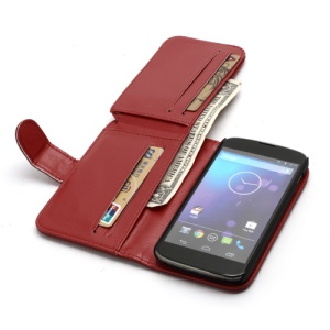 Multiple Card Slots Crazy Horse Leather Wallet Case Stand for LG E960 Google Nexus 4 Mako - Red