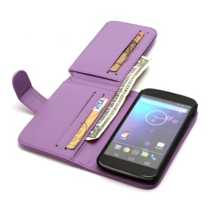 Multiple Card Slots Crazy Horse Leather Wallet Case Stand for LG E960 Google Nexus 4 Mako - Purple
