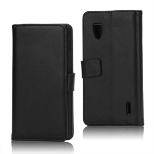 Magnetic Lychee Leather Wallet Style Folio Stand Protective Cover for LG Optimus G E973 - Black