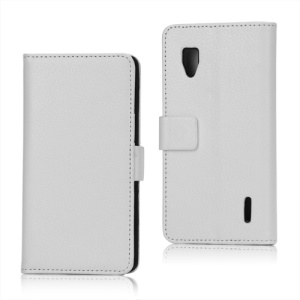 Magnetic Lychee Leather Wallet Style Folio Stand Protective Cover for LG Optimus G E973 - White