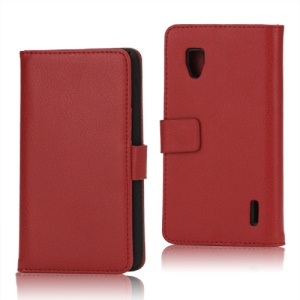 Magnetic Lychee Leather Wallet Style Folio Stand Protective Cover for LG Optimus G E973 - Red