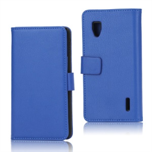 Magnetic Lychee Leather Wallet Style Folio Stand Protective Cover for LG Optimus G E973 - Blue
