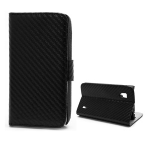 Carbon Fiber Leather Wallet Case Stand for LG Optimus G E973 - Black