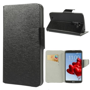 Black Silk Texture Leather Card Holder Stand Cover for LG Optimus G Pro 2 F350 D837 D838