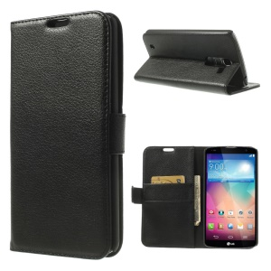 Black Lychee Leather Diary Stand Cover for LG Optimus G Pro 2 F350 D837 D838