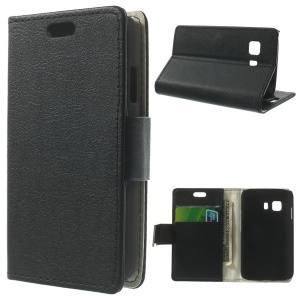 Litchi Skin Wallet Leather Stand Case for Samsung Galaxy Young 2 SM-G130 - Black