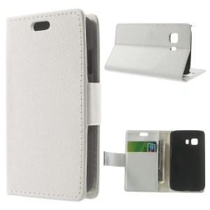 Litchi Skin Wallet Leather Stand Cover for Samsung Galaxy Young 2 SM-G130 - White