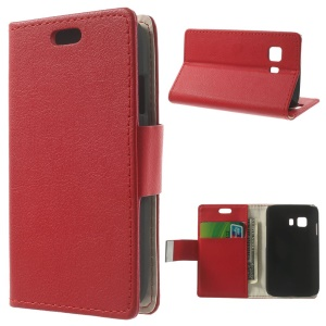 Litchi Skin Leather Stand Case w/ Card Slots for Samsung Galaxy Young 2 SM-G130 - Red