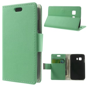 Litchi Skin Leather Stand Cover w/ Card Slots for Samsung Galaxy Young 2 SM-G130 - Cyan