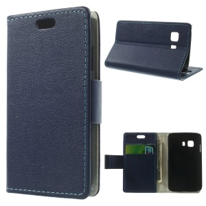 Litchi Skin Magnetic Leather Stand Case for Samsung Galaxy Young 2 SM-G130 - Dark Blue