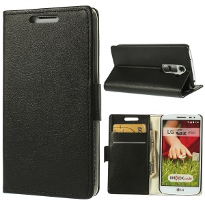 Black for LG G2 Mini D610 D618 D620 Magnetic Litchi Grain Leather Wallet Cover w/ Stand