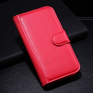 Red Litchi Leather Wallet Stand Case for Samsung Galaxy Ace Style G310