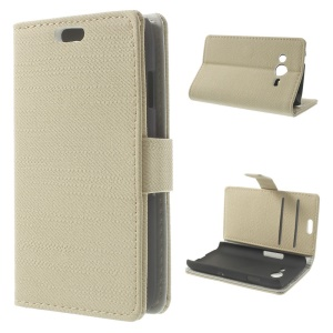 Cloth Texture Leather Wallet Case for Samsung Galaxy Ace NXT G313H G313F G313HU G313HZ w/ Stand - Beige