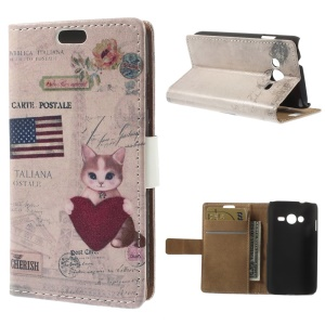 Cat Holding Heart & American Flag Leather Case for Samsung Galaxy Ace NXT G313H / Ace 4 LTE G313F