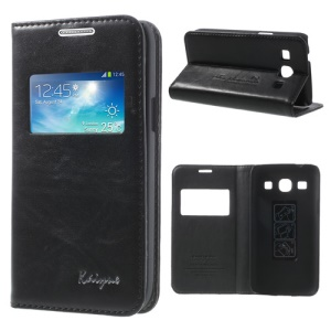 Black KAIYUE Caller ID View Window Flip Leather Cover Stand for Samsung Galaxy Core Plus G3500 G3502