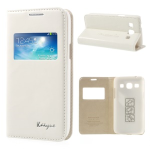 White KAIYUE Caller ID View Window Flip Leather Cover Stand for Samsung Galaxy Core Plus G3500 G3502