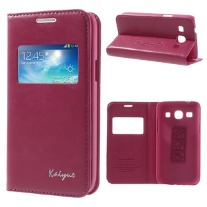 Rose KAIYUE Caller ID View Window Flip Leather Cover Stand for Samsung Galaxy Core Plus G3500 G3502