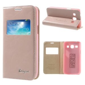 Pink KAIYUE Caller ID View Window Flip Leather Case Stand for Samsung Galaxy Core Plus G3500 G3502