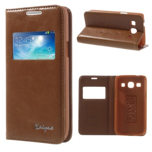 Brown KAIYUE Caller ID View Window Flip Leather Case Stand for Samsung Galaxy Core Plus G3500 G3502