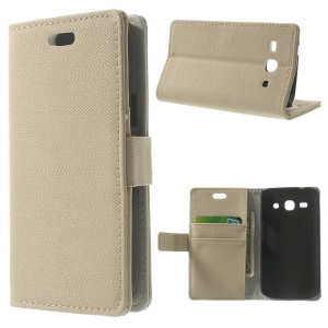 Cloth Texture Leather Stand Case w/ Card Slots for Samsung Galaxy Star 2 Plus SM-G350E - Beige