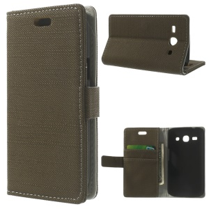 Cloth Texture Magnetic Leather Stand Case for Samsung Galaxy Star 2 Plus SM-G350E - Coffee