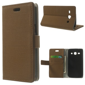 Cloth Texture Magnetic Leather Stand Cover for Samsung Galaxy Star 2 Plus SM-G350E - Brown