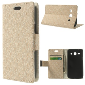 Maze Pattern Leather Magnetic Cover w/ Stand for Samsung Galaxy Star 2 Plus SM-G350E - Beige