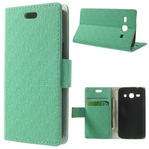 Maze Pattern Wallet Leather Stand Case for Samsung Galaxy Star 2 Plus SM-G350E - Cyan
