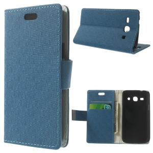 Maze Pattern Wallet Leather Stand Cover for Samsung Galaxy Star 2 Plus SM-G350E - Baby Blue