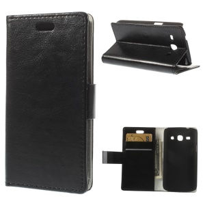 Black Crazy Horse Wallet Leather Stand Case for Samsung Galaxy Star 2 Plus SM-G350E