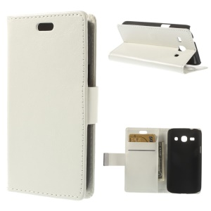 White Crazy Horse Wallet Leather Stand Cover for Samsung Galaxy Star 2 Plus SM-G350E