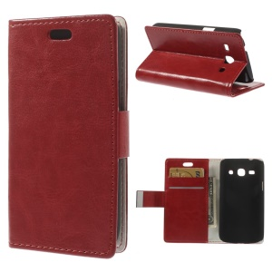 Red Crazy Horse Leather Stand Case w/ Card Slots for Samsung Galaxy Star 2 Plus SM-G350E
