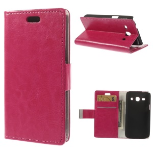 Rose Crazy Horse Leather Stand Cover w/ Card Slots for Samsung Galaxy Star 2 Plus SM-G350E