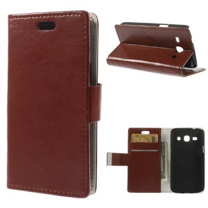 Brown Crazy Horse Stand Leather Card Holder Case for Samsung Galaxy Star 2 Plus SM-G350E