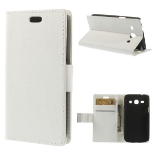 White Litchi Skin Wallet Leather Case w/ Stand for Samsung Galaxy Star 2 Plus SM-G350E