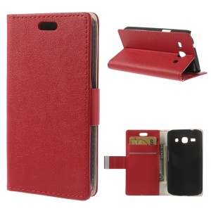 Red Litchi Skin Leather Magnetic Case w/ Stand for Samsung Galaxy Star 2 Plus SM-G350E