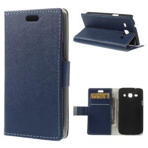 Dark Blue Litchi Skin Leather Stand Case w/ Card Slots for Samsung Galaxy Star 2 Plus SM-G350E
