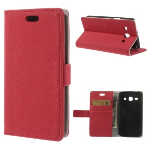 Red Pebble Grain Leather Stand Cover w/ Card Slots for Samsung Galaxy Star 2 Plus SM-G350E